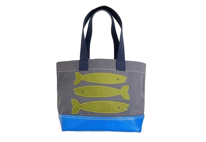 Fish Tote  Green  Gray image 0