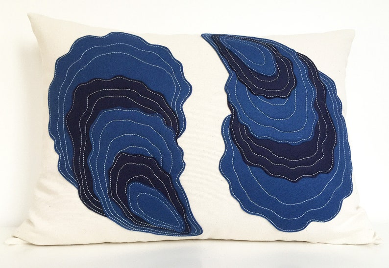 Oyster Yin Yang Pillow in layered blue felts on cotton image 0