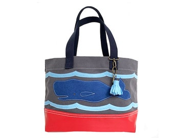 Wavy Whale Tote + Tassel Key Ring - Gray + Red