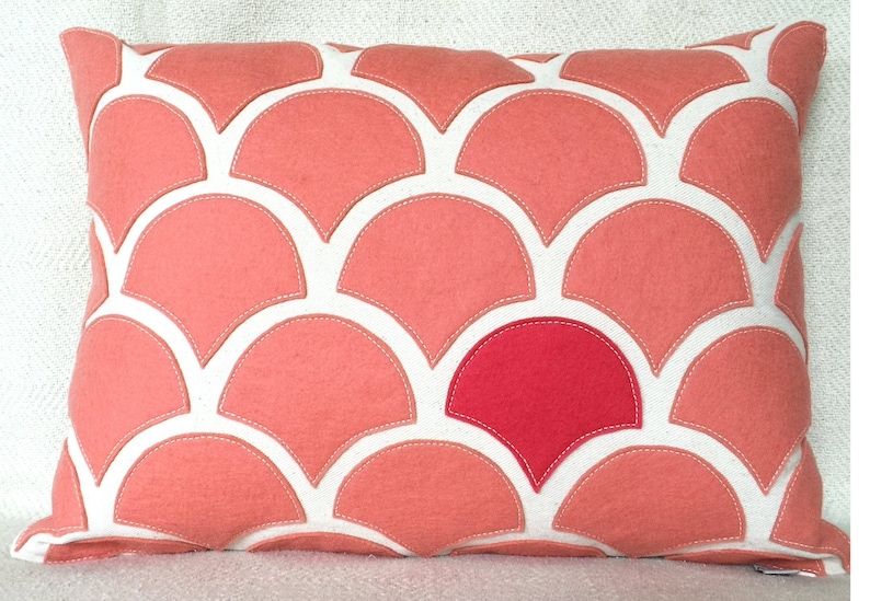 Peach salmon wave pillow with wool felt applique on cotton etsy