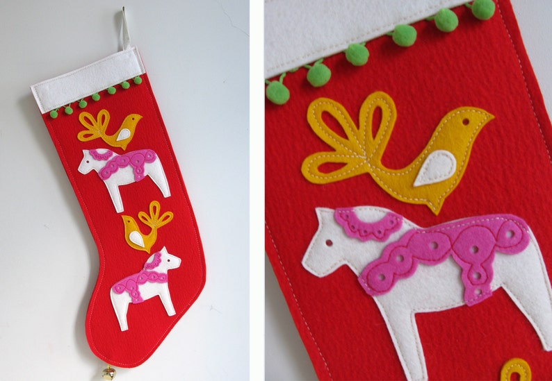 Christmas Stocking with Dala Horse & Birds in Red Pink and image 0