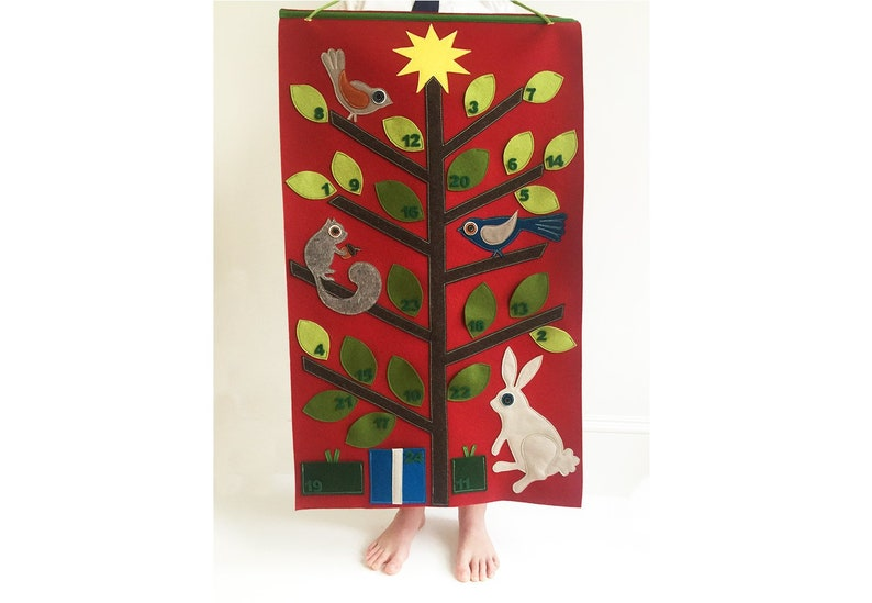 Woodland Animal Advent Calendar in Wool Felt image 0