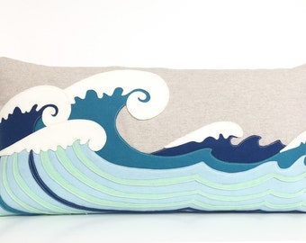 Ocean Waves Lumbar Pillow in Blue felt and Oatmeal LInen