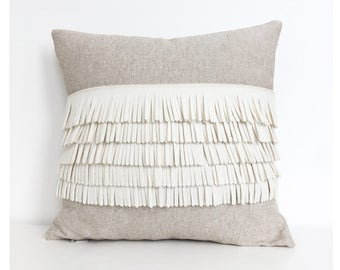 Felt Fringe Pillow in Creamy White and Oatmeal Cotton-Linen