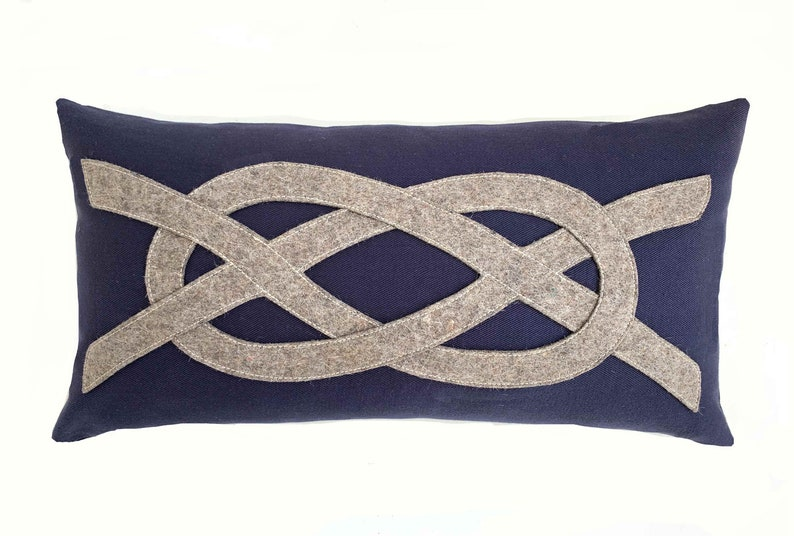 Sailor's Knot Pillow in Navy  Natural image 0