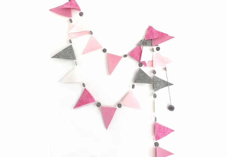 Flag Garland in Pinks  Gray image 0