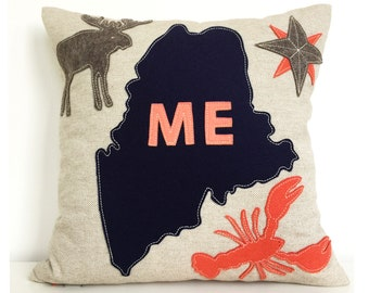 Maine Map with Lobster and Moose in Navy and Coral Felt Applique on Oatmeal Linen