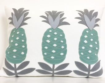 Pineapple You're Welcome Pillow in Aqua and Greys on Creamy White Twill