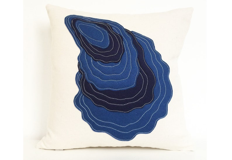 Oyster Pillow in layered blue wool felt on cotton image 0