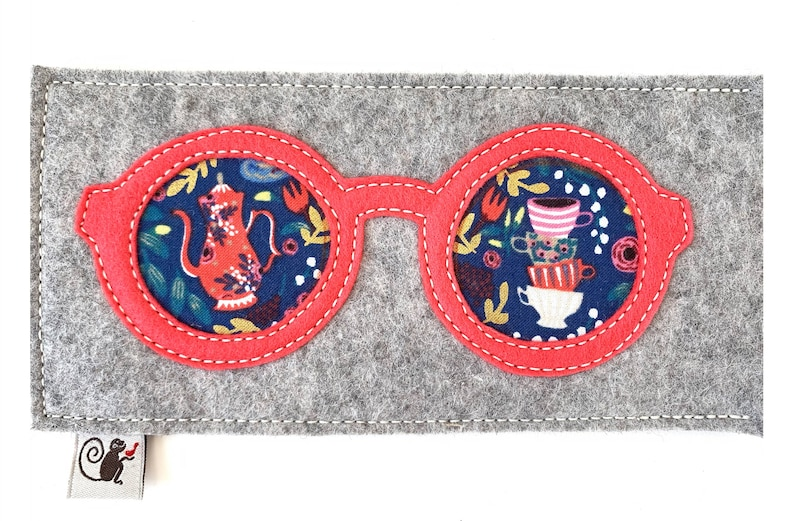 Tea Party Eyeglass Case  Coral  Gray image 0