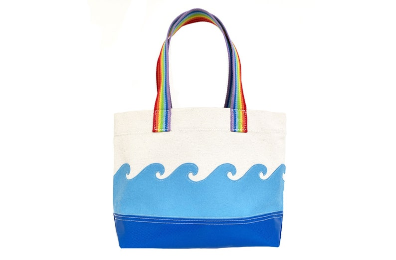 Wave Tote  Blue  Rainbow image 0