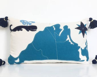 Martha's Vineyard Map Lumbar Pillow with Spouting Whale in Teal and Navy Blue Felt Applique on Creamy White Twill with Handmade Tassels