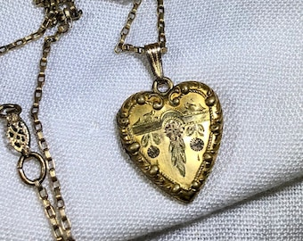 Vintage Heart Shaped Locket Pendant with Vintage Chain 12kGF