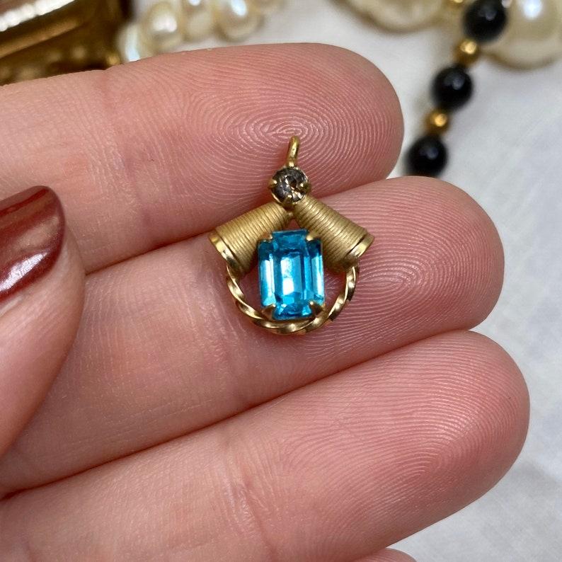 Vintage Light Blue Aquamarine Colored Emerald Cut Rectangle Glass Gem 120 14k GF dec Signed Pendant