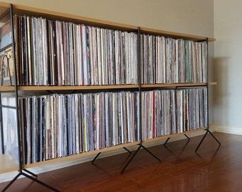 Retro MId Century Modern Vinyl Storage And Shelving . Vinyl Record Shelving  Storage Unit Holds Up To 800 Vinyl Albums.