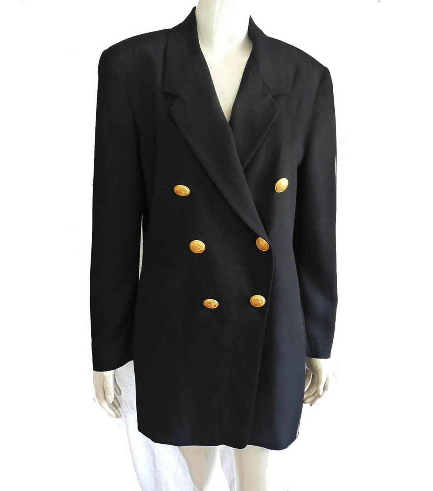 MONDI FASHION BLAZER JACKET COAT Black Gold Buttons Size 6 36