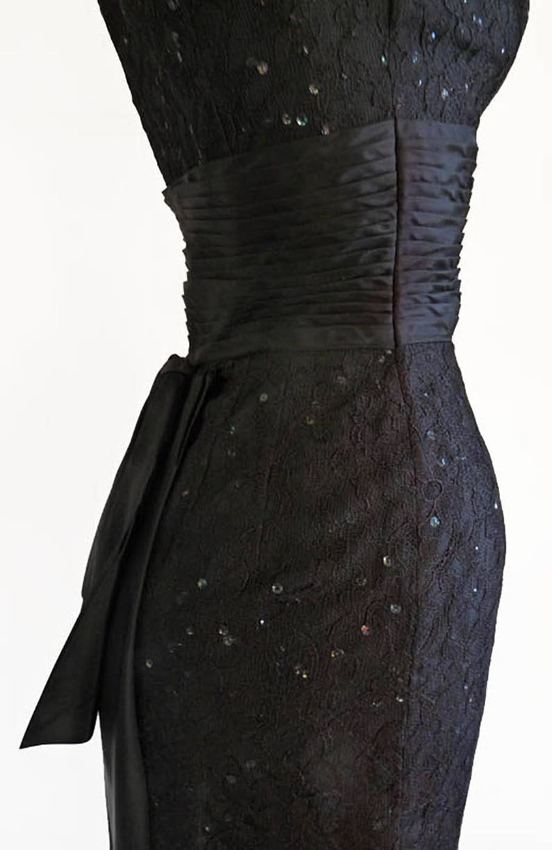 1950s Dress Wiggle Detrano Black Peplum Ruched Bustle Square neck Sleeveless Sequins Georgette