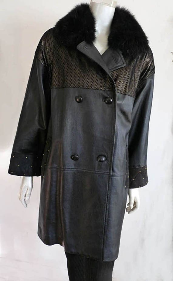 Diane Freis jacket leather coat Fox fur collar Bla