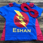 Big Brother Superhero Shirt Boys Personalized Superhero T-Shirt with Cape and Mask Super Hero Shirt with Lightening Bolt and Initial