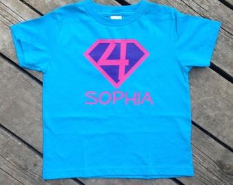 f32f5a3b0 Girl Birthday Present Personalized Superhero T-Shirt, Custom Super Hero  Shirt with Initial Girly T-shirt Birthday Party