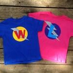 Personalized Kid's Birthday Superhero T-Shirt, Custom Super Hero Birthday Shirt with Lightening Bolt and Initial , Kids T-shirt