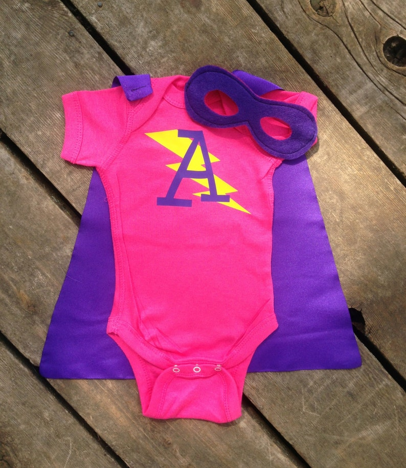 Personalized Superhero Baby Outfit Girls Bodysuit with Cape image 0