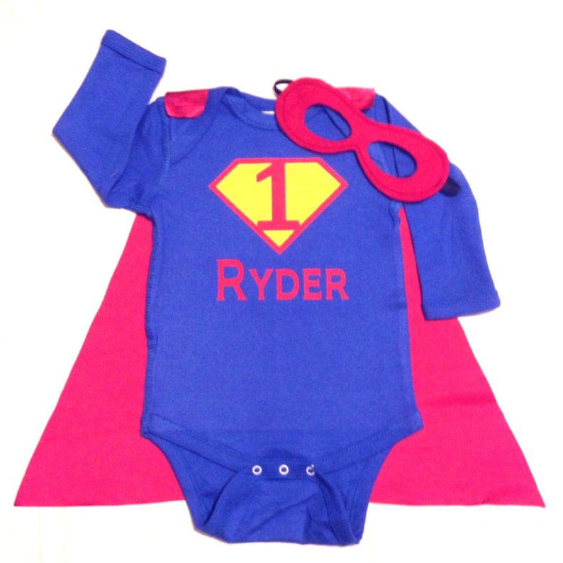 First Birthday Personalized Superhero Baby Outfit Custom image 0