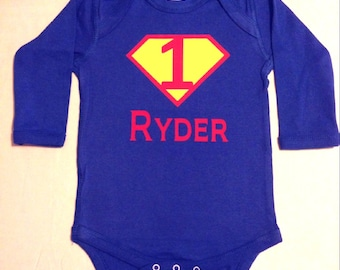 First Birthday Personalized Superhero Baby Bodysuit, Custom Birthday Superhero Baby Shirt, Super Hero Baby