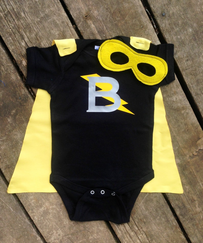 Personalized Superhero Baby Outfit Boys Bodysuit with Cape and image 0