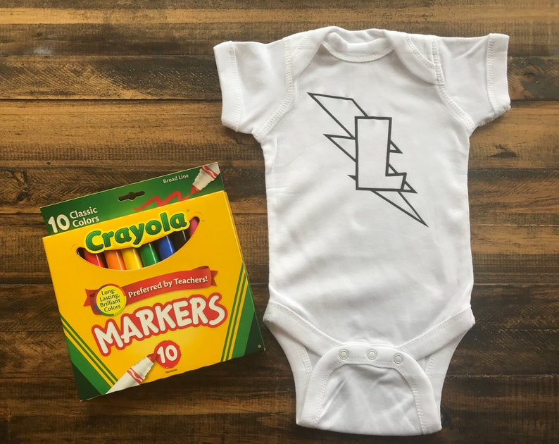 Color Your Own Baby Bodysuit Superbaby Hero Shirt with image 0