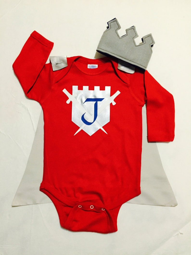 Personalized Knight Baby Outfit Boys Bodysuit with Cape and image 0