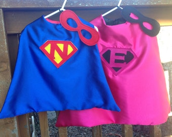 Personalized Superhero Cape with Mask, Reversible Kid's Boy Girl Super Hero Cape, Choose any Custom Color Combination