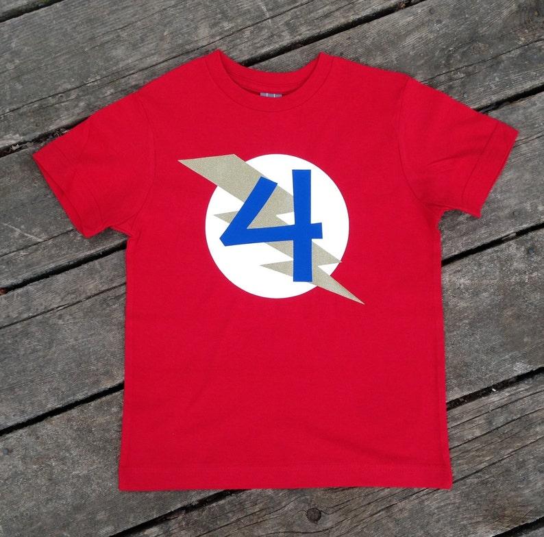 Personalized Kid's Birthday Superhero T-Shirt Custom image 0