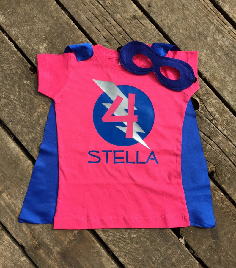Girls Personalized Superhero T-Shirt with Cape and Mask Custom image 0