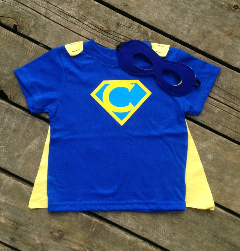 Personalized Superhero T-Shirt with Detachable Satin Cape and image 0
