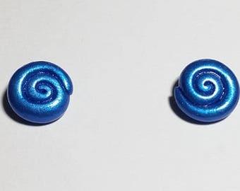 Small Metallic, Shimmery Blue Swirl Stud Earrings