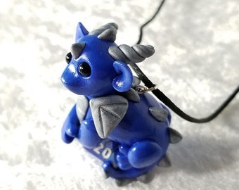 Blue and Silver Baby Dragon D20 Necklace