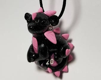 Black and Pink Sparkle Baby Dragon D20 Necklace