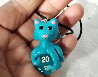 Bright Blue Tentacle Kitty Necklace