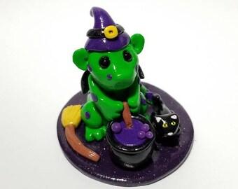 Baby Witch Miniature Dragon- 2-inch sculpture, polymer clay, handmade, halloween