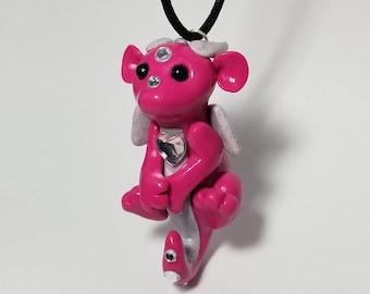 Pink Gemmed Heart Baby Dragon D20 Necklace