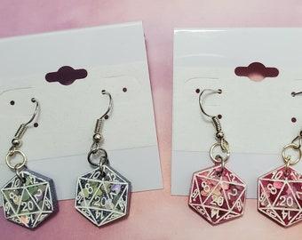 Heart D20 Resin Earrings - Multiple Colors Available!