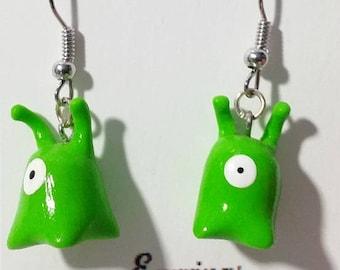 Green Slug Earrings - Clay Earrings, Green Creature, Miniature Earring, Handmade Jewelry