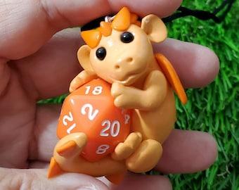 Orange Baby Dragon D20 Necklace