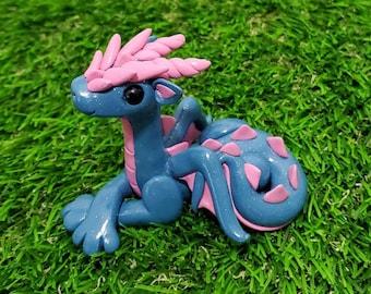 Blue and Pink Miniature Dragon Sculpture