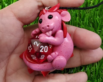 Valentines Baby Dragon D20 Necklace