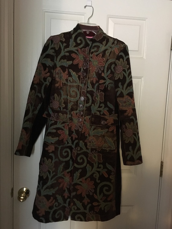Tapestry Coat with Velvet sides