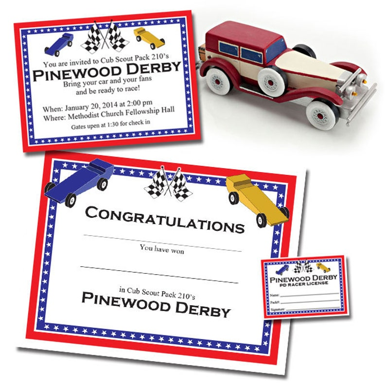 Custom Pinewood Derby Invitation Racer S License Etsy