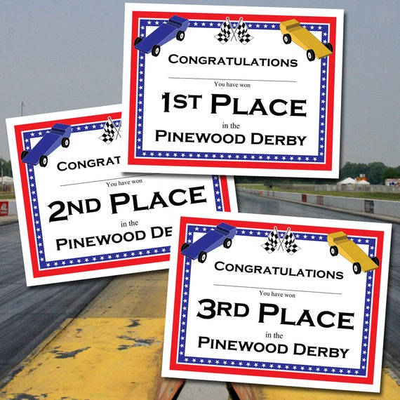 Instant Download Pinewood Derby Certificates 16 Different