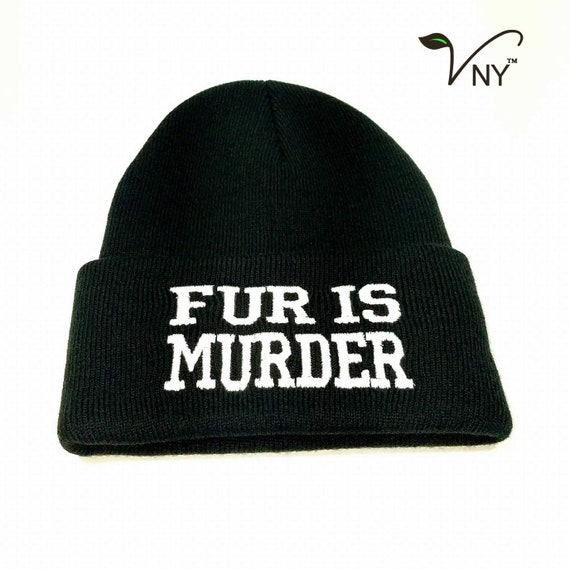 VEGAN KNITTED BEANIE HAT WINTER EMBROIDERED MEAT IS MURDER ANIMAL LOVER ALF